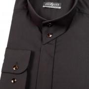 Pánská košile se stojáčkem na 2 knoflíky, dl.rukáv, v23-černá