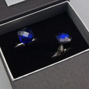 Manžetové knoflíčky AVANTGARD PREMIUM, stříbrná lesk/modrá