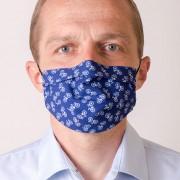 Pánská bavlněná rouška dvouvrstvá skládaná s kapsou a tvarovacím drátkem, ouška z gumičky, modrá/cyklistika