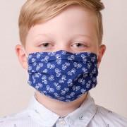 Dětská bavlněná rouška dvouvrstvá skládaná s kapsou a tvarovacím drátkem, ouška z gumičky, modrá/cyklistika