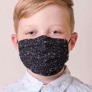 Dětská bavlněná rouška dvouvrstvá skládaná s kapsou a tvarovacím drátkem, ouška z gumičky, černá/noty