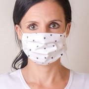 Dámská bavlněná rouška na ústa a nos dvouvrstvá skládaná s oušky z gumičky, bílá/srdce