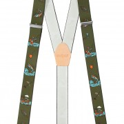 Rybářské šle Y s koženým středem a zapínáním na klipy - 35 mm, zelená; petrův zdar