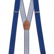 Šle Y s koženým středem a zapínáním na klipy - 35 mm, královsky modrá, tmavě hnědá kůže