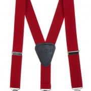 Chlapecké šle Y s koženým středem a zapínáním na klipy - 25 mm, červená, černá kůže