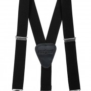 Chlapecké šle Y s koženým středem a zapínáním na klipy - 25 mm, černá, černá kůže