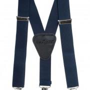 Chlapecké šle Y s koženým středem a zapínáním na klipy - 25 mm, tmavě modrá, černá kůže
