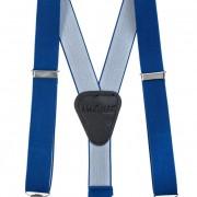 Chlapecké šle Y s koženým středem a zapínáním na klipy - 25 mm, královsky modrá, černá kůže