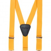 Chlapecké šle Y s koženým středem a zapínáním na klipy - 25 mm, žlutá, černá kůže