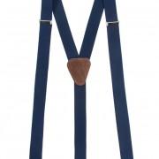 Šle Y s koženým středem zapínáním na klipy - 25 mm, tmavě modrá, tmavě hnědá kůže