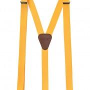 Šle Y s koženým středem zapínáním na klipy - 25 mm, žlutá, tmavě hnědá kůže