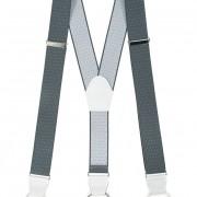 Šle Y s koženým středem a poutky - 35 mm, šedá s bílým puntíkem, bílá kůže