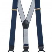 Šle Y s koženým středem a poutky - 35 mm, tmavě modrá, tmavě modrá kůže