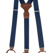 Šle Y s koženým středem a dvojitým zapínáním na klipy - 35 mm - v dřevěné dárkové krabičce, modrá