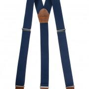 Šle Y s koženým středem a zapínáním na klipy - 35 mm - v dřevěné dárkové krabičce, modrá