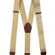 Šle Y s koženým středem a zapínáním na klipy - 35 mm - v dřevěné dárkové krabičce, zlatá