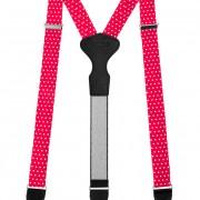 Látkové šle Y s koženým středem a zapínáním na klipy - 35 mm - v dárkovém balení, červená s bílými puntíky, černá kůže