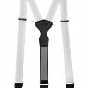 Látkové šle Y s koženým středem a zapínáním na klipy - 34 mm - v dárkovém balení, bílá