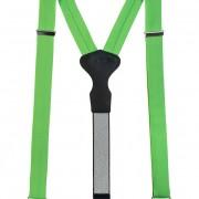 Látkové šle Y s koženým středem a zapínáním na klipy - 35 mm - v dárkovém balení, zelená, černá kůže