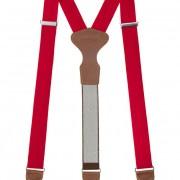 Látkové šle Y s koženým středem a zapínáním na klipy - 35 mm - v dárkovém balení, červená, tmavě hnědá kůže