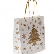 Vánoční dárková taška 180 x 80 x 200 mm, bílá/zlatá