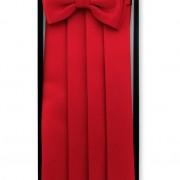 Frakový pás s motýlkem a kapesníčkem, červená