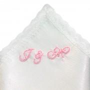 Ozdobný kapesníček s růžovou výšivkou