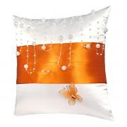 Bílý polštářek s oranžovou stuhou a perličkami