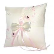 Šampáň polštářek s krajkou s růžovými akcenty