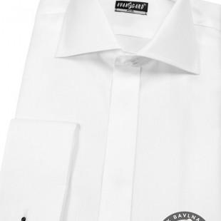 Pánská košile SLIM - krytá léga, MK, bílá