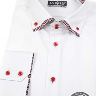 Pánská košile SLIM dl.rukáv, bílá/červená