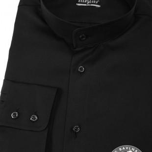 Pánská košile se stojáčkem SLIM dl.rukáv, černá