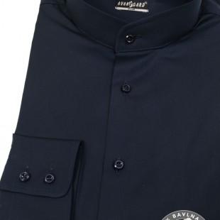Pánská košile se stojáčkem SLIM dl.rukáv, modrá