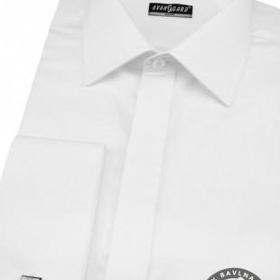 Pánská košile SLIM kr.léga, MK, bílá hladká s leskem