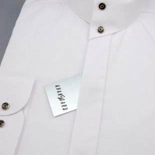 Pánská košile se stojáčkem na 2 knoflíky, dl.rukáv, v1-bílá