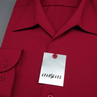 Pánská košile s rozhalenkou, dl.rukáv, v13-bordó