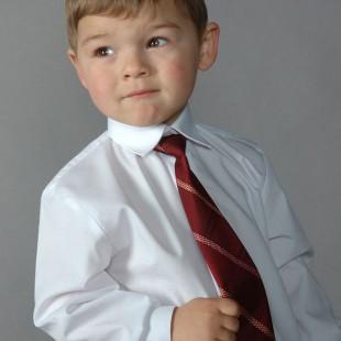 Chlapecká košile KLASIK s krytou légou, v1-bílá