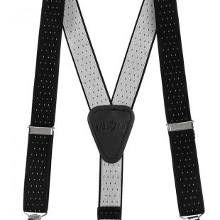 Chlapecké šle Y s koženým středem a zapínáním na klipy - 25 mm, černá s bílým puntíkem