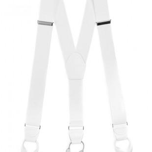 Šle Y s koženým středem a poutky - 35 mm, bílá, bílá kůže