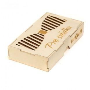 """Dřevěná krabička na motýlek """"Pro svědka"""", přírodní dřevo"""
