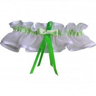 Bílý podvazek široký se zelenou stuhou