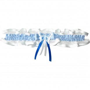 Bílý podvazek úzký s modrou stuhou