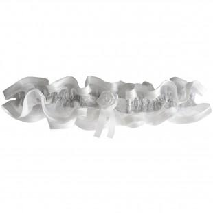 Bílý podvazek úzký s stříbrnou stuhou
