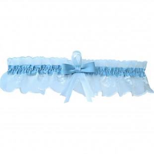 Bílý krajkový podvazek s modrou stuhou