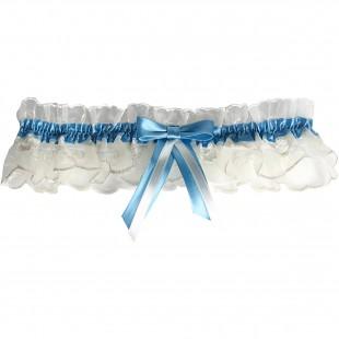 Šampáň krajkový podvazek s modrou stuhou