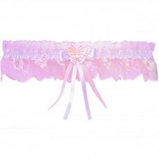 Růžový krajkový podvazek s bílou stuhou