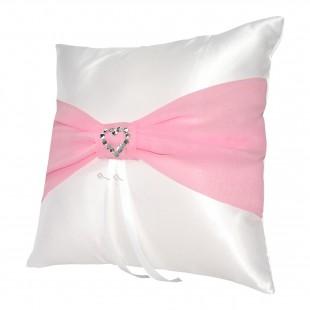 Bílý polštářek s šifonovou mašlí v růžové barvě